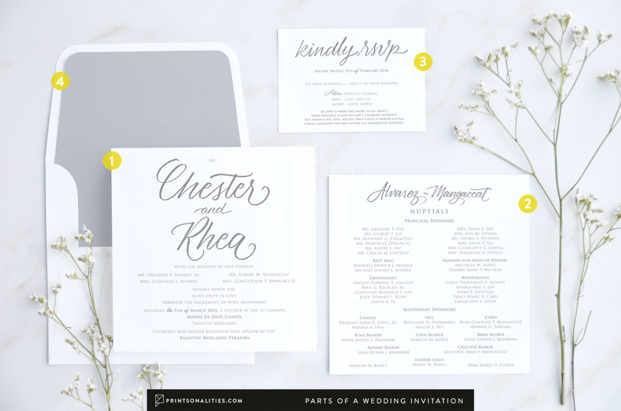 Parts of a Wedding Invitation – Prinsonalities